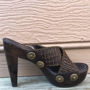 Stuart Weitzman Leather Criss Cross Sandals Heels